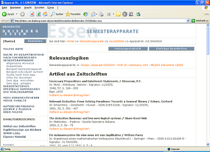 Screenshot MILLESS-Semesterapparat